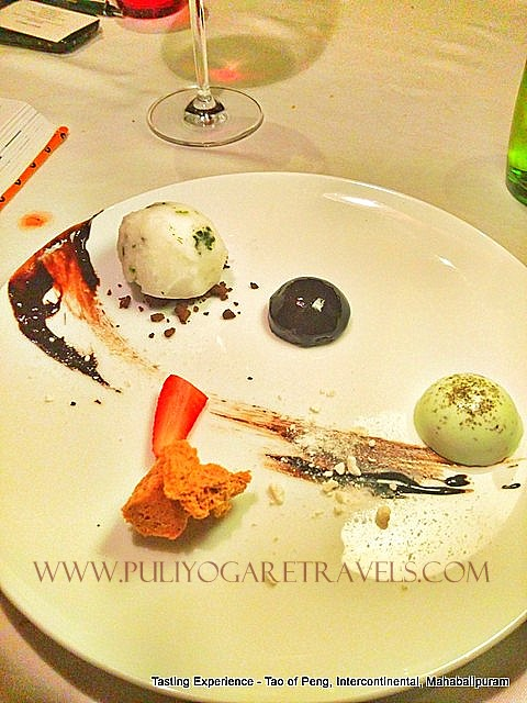 Dessert Platter - Green tea Panna cotta Anise enhanced chocolate dome, lime blossom Sorbet, chocolate soil, Ganache